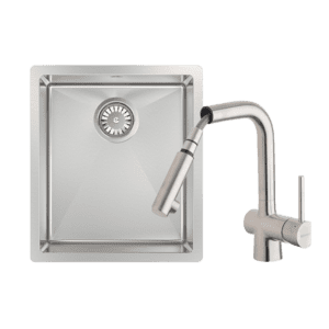 Abey abey-packages Alfresco Single Bowl Sink with Drain Tray & Laios Pull Out Kitchen Mixer Kitchen Sinks