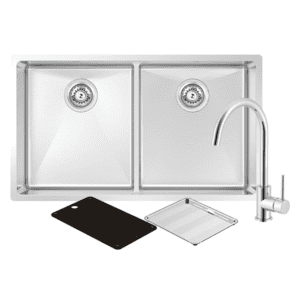 Abey abey-packages Montego Double Sink with 3K4 Kitchen Mixer Kitchen Sinks