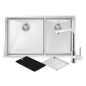 Abey abey-packages Montego Large Bowl & Three Quarter Bowl Sink with 3K2 Kitchen Mixer Kitchen Sinks